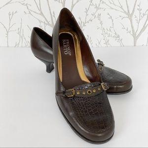Franco Sarto Brown Kitten Heel Leather Pump 7.5